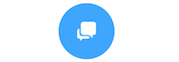 "Image of ""chat widget"" that appears on mobile devices. A small blue circle with a white chat bubble inside."